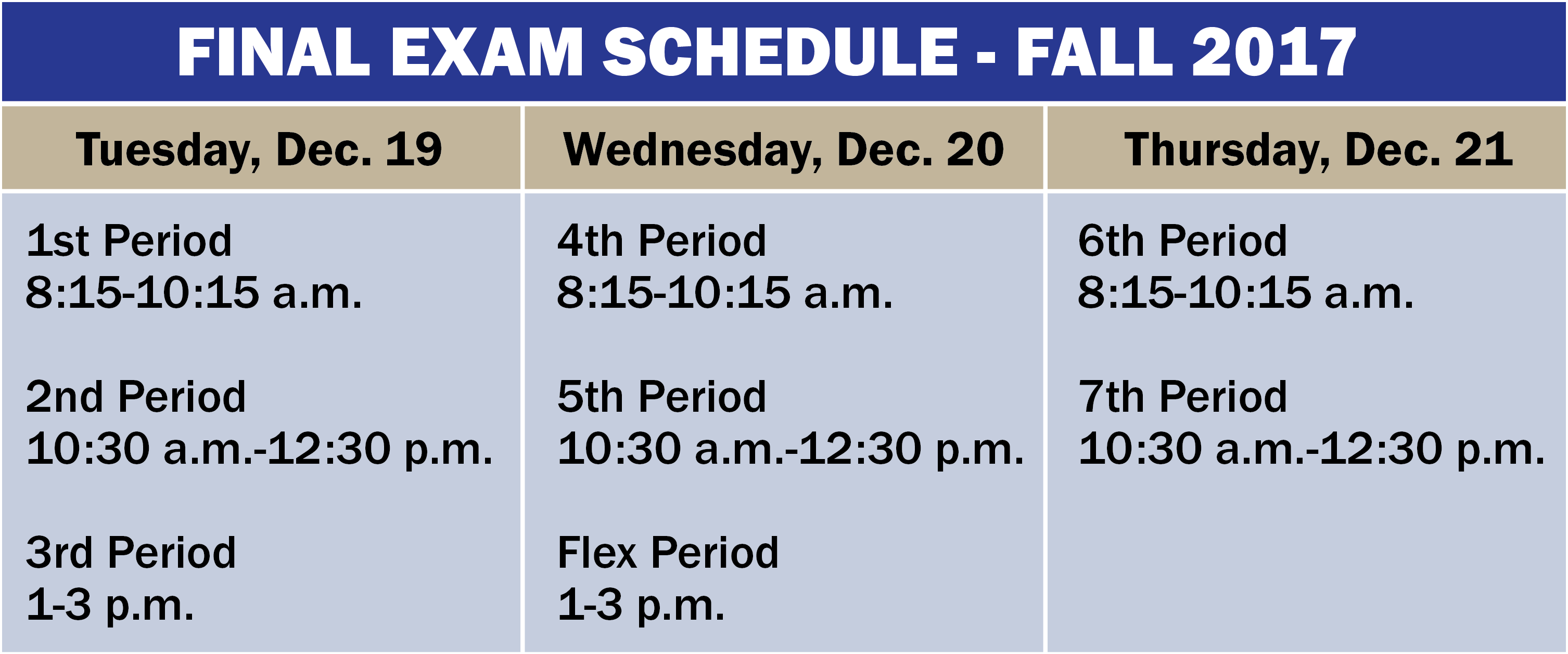 Fall 2017 Final Exam Schedule Now Available - University
