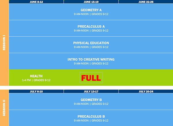 for credit summer class school schedule
