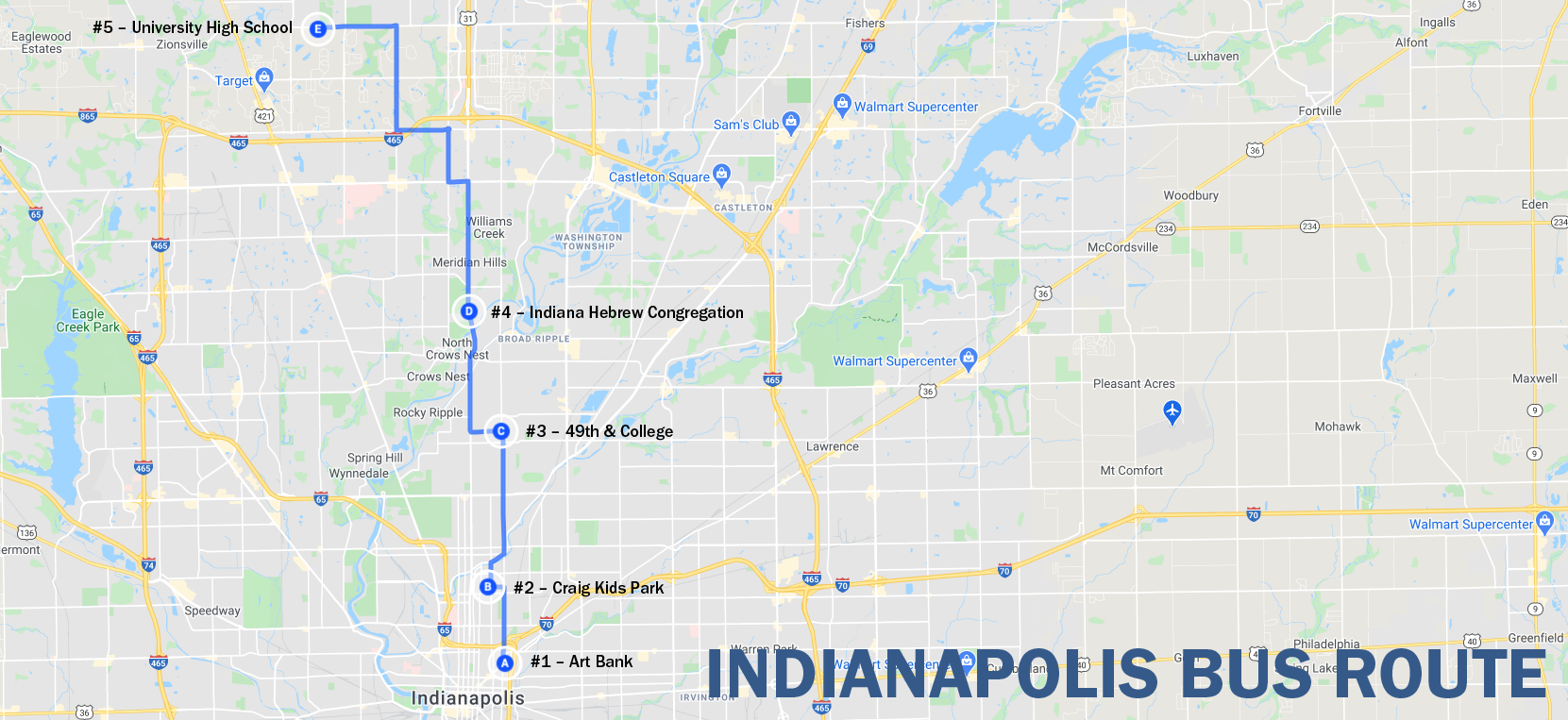 Maps shows Indianapolis route